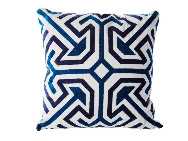 Dans les tons #bleuté, le #coussin 45x45 cm VINTAGE Bleu est parfait pour une sélection #graphique - BUT