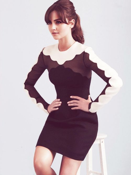 Valentino, Fall 2013 Ready-to-Wear, 35/68 ---- Scalloped neckline. From Glamour UK (http://jennalouisecoleman.org/jenna-for-glamour-uk/) ---- #dress