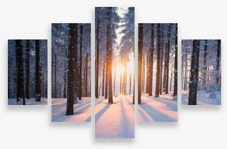 Canvas Wall Art 5 Panel Framed Multi Print- Snow in the Forest