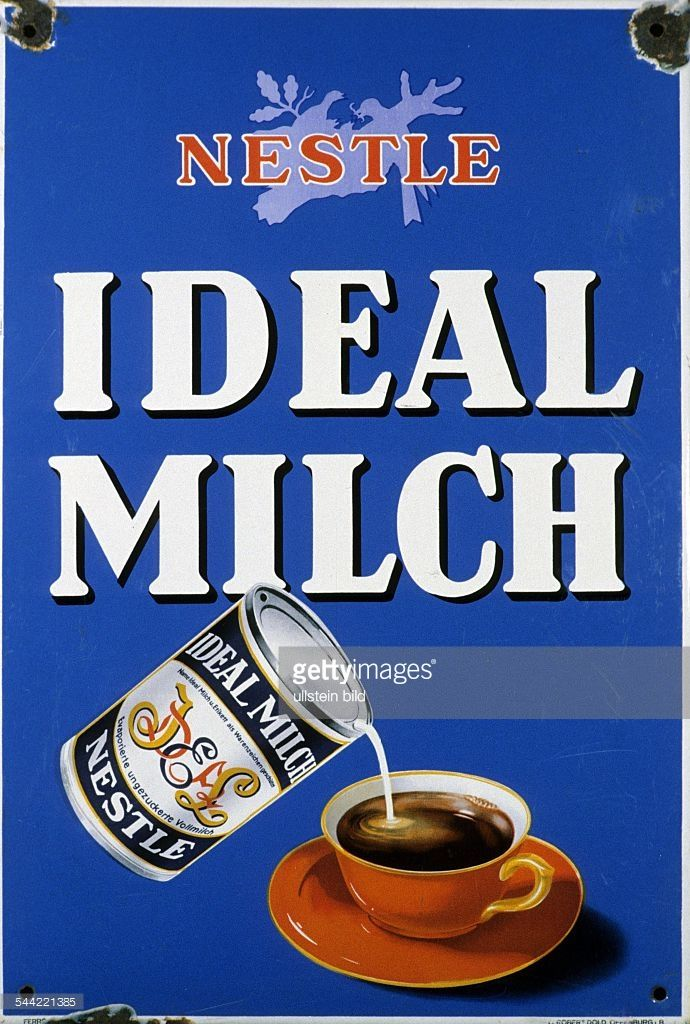 News Photo : Reklameschild für Kaffeemilch der Firma Nestle-...