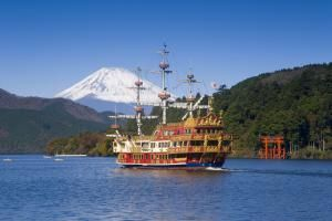 You'll take a train, cable car, aerial ropeway, bus and even a pirate ship during this Hakone day trip from Tokyo in the shadow of Mt. Fuji.