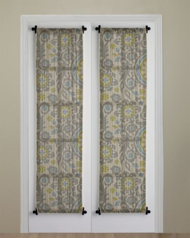 curtain idea with rod at top and bottom to dress up bedroom-to-balcony door and for inside main front door -- not double like this, but single panel