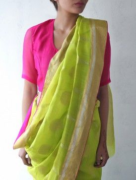 Lime Chanderi & Zari Marigold Saree