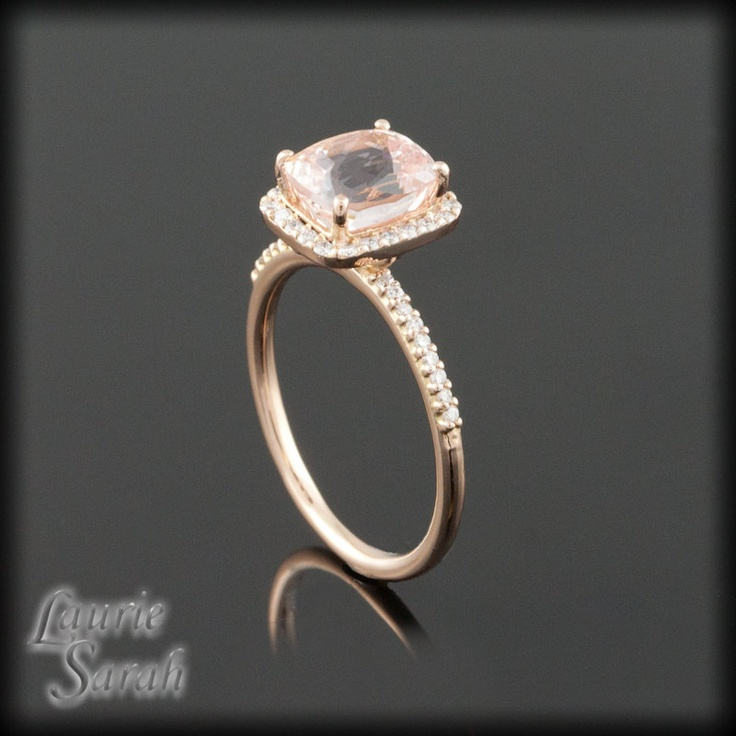 Dainty Cushion Cut Pink Sapphire and Diamond Ring in Rose Gold - LS1673. $4,573.26, via Etsy.Cushions Cut, Gold Engagement Rings, Peaches Colors, Cut Peaches, Dainty Cushions, Rose Gold Engagement, Pink Sapphire, Cut Pink, Cushion Cut