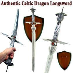 "Celtic Dragon Longsword w/ Plaque Stainless 42"""