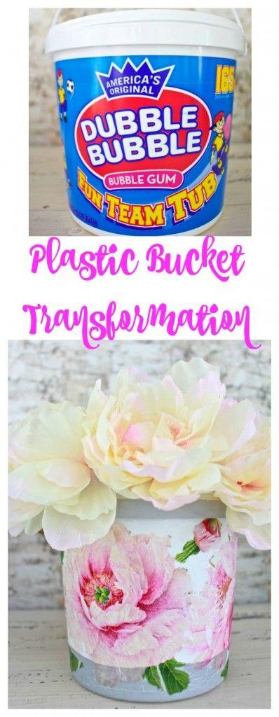 Plastic Bucket Transformation with Decoupage Peonies. Chalk paint plastic bucket. Mod Podge decoupage. Decoupage peony napkins. Napkin decoupage. Plastic bucket makeover. Peony. Peonies.