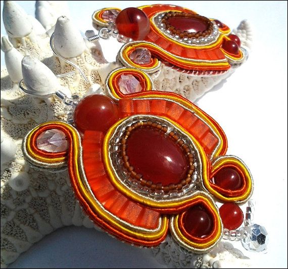 Orange Carnelian Soutache Dangle Women's Earrings  Orange #bmecountdown