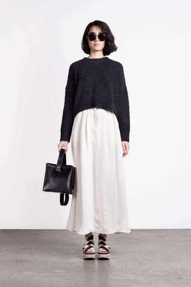 Linen and silk blend pleated full length white skirt with black pullover by One of a few.