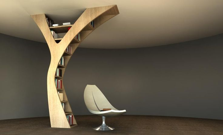 Yule, bookshelf by claudia bignoli. Yule is thought for who needs  new shelves but has no more free space along the walls.  It can be put everywhere in the room and fixed to the ceiling.  Hieght 270 cm ( adaptable to the standards of each Country - from floor to ceiling)  Width at the base 45 cm. Width at the top 200 cm.  Depth 30 cm.  Capacity equivalent to 550 cm of linear shelf.  Natural wood or MDF, lacquered. http://tc8.me/e7ecbd7