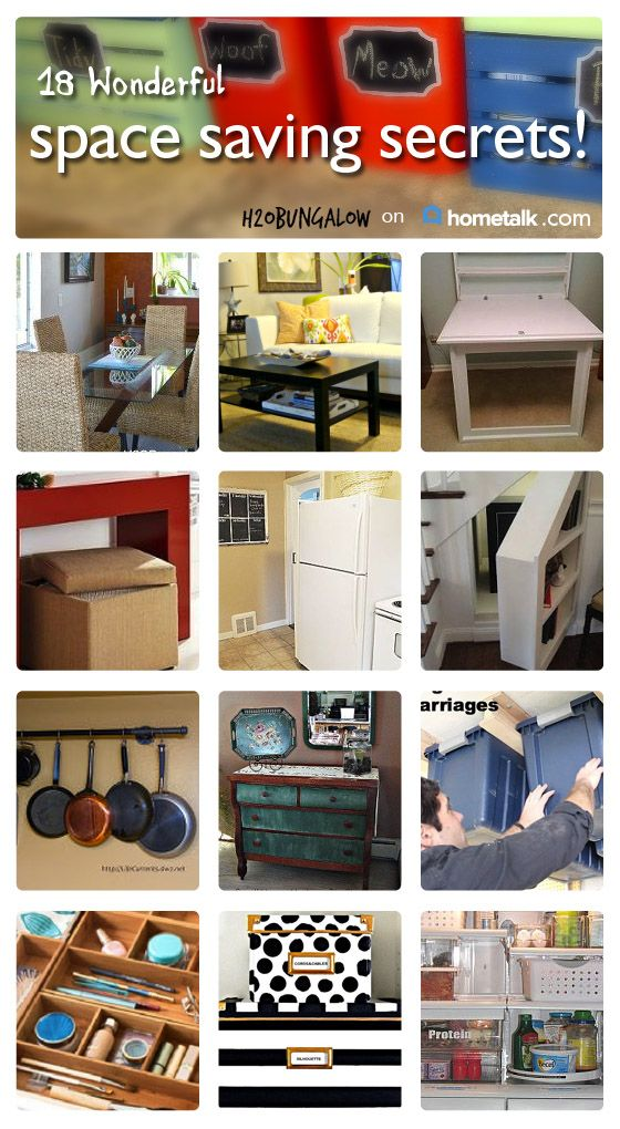 18 Wonderful Space Saving Secrets- Adding a room to your home is tough...following a few space saving tips to get more space..not so much!  www.H2OBungalow.com