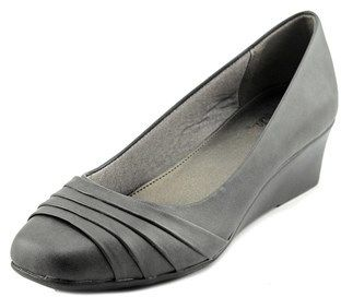 LifeStride Life Stride Gains Women Open Toe Leather Gray Wedge Heel.