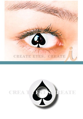 Throw them off their game with a poker face that wins ♥    Spade Crazy Cosmetic Contact Lenses  HeavenlyCreates: Offers a wide variety of Crazy Contact Lenses at even crazier prices.   Brand New and Packaged  Packing: 2 pcs / Box   Prescription: 0.00  Usage: 90+ days after opening   Price: $69.00