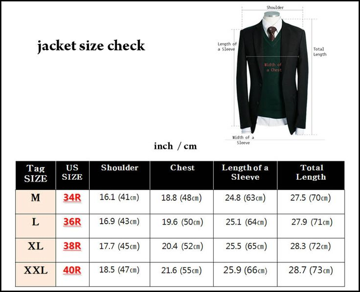Suit and sport coat sizes have one number and one letter (for example, 38S, 40R, 42L). The number is your chest measurement and the letter refers to the jacket's length ' short, regular or long. Check your own measurements and follow our men's suit size chart to help determine the right size for you.