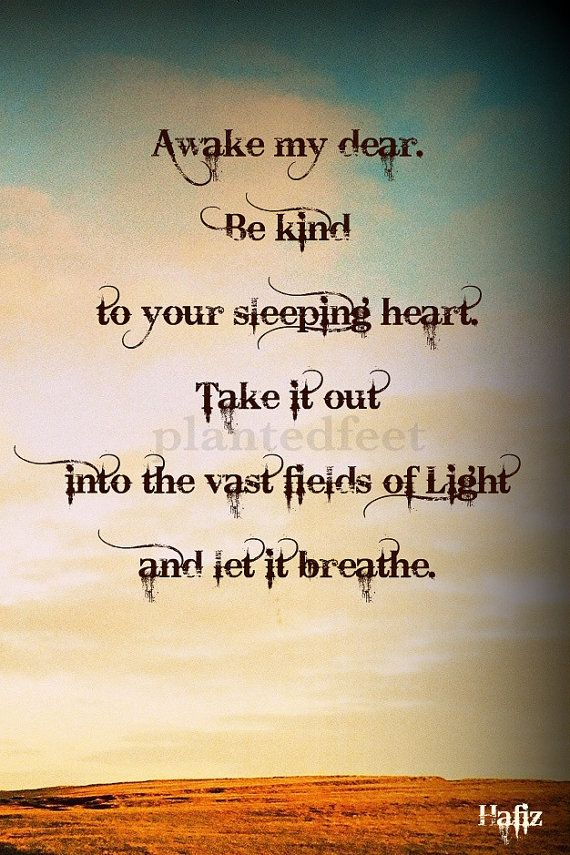 """""""Awake my dear. Be kind to your sleeping heart. Take it out into the vast fields of light and let it breathe."""" - Hafiz"""