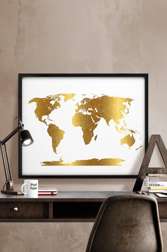 Gold world map, detail world map, world map with simulation of gold, world map poster, world map print, home decor, wall decor, iPrintPoster.  Art
