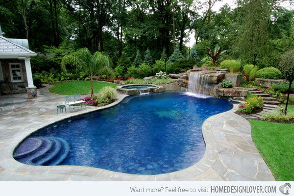 Spa and waterfall features in this unique kidney bean shape pool in the backyard highlighted the stress free zone in the house.