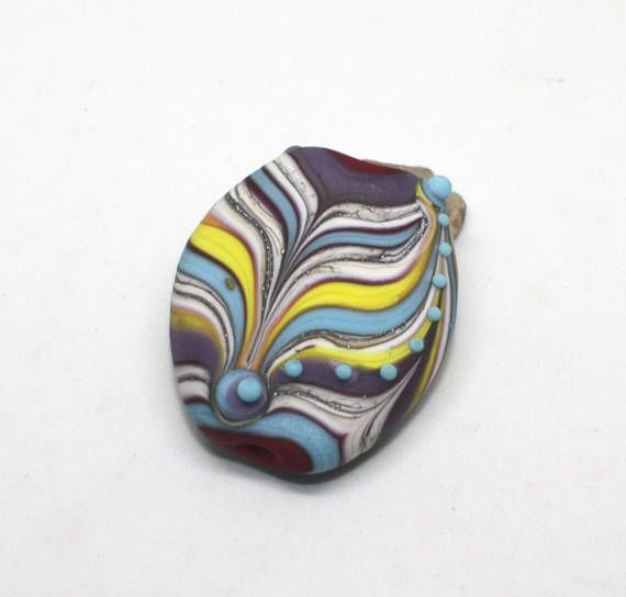 Etched Focal Bead 32 mm Burgundy Red Blue Turquoise Yellow