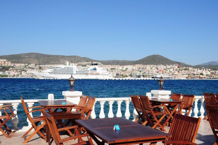Seaside terrace in Kusadasi, Turkey