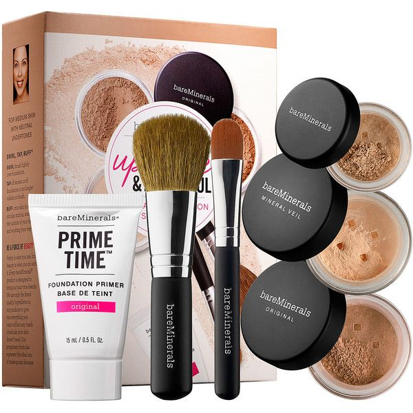 bareMinerals Up Close & Beautiful: 30 Day Complexion Starter Kit featuring polyvore, beauty products, gift sets & kits, facial brush, bare escentuals, bare escentuals kit and face brush