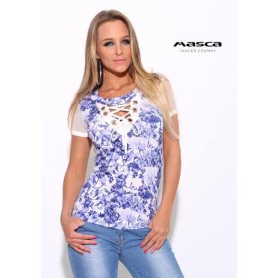 521fe52159 Masca Fashion ékszerkarikás fűzős dekoltázsú, muszlin rövid ujjú kék  virágos fehér felső