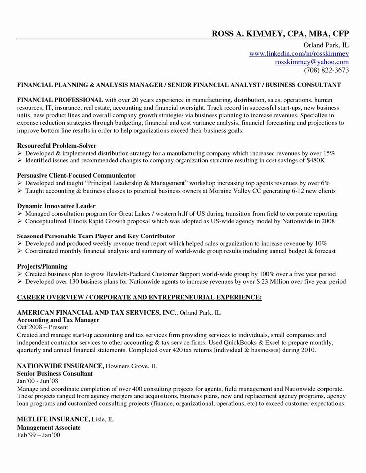 Small Business Owner Resume Sample Unique Insurance Plans