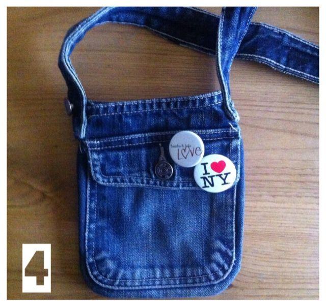 SO SUNNY Denim bag made from trousers Tutorial. Bolso para niñas a partir de unos vaqueros.
