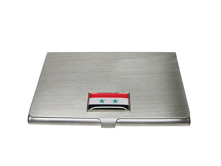 Thin Bordered Syria Flag Pendant Business Card Holder