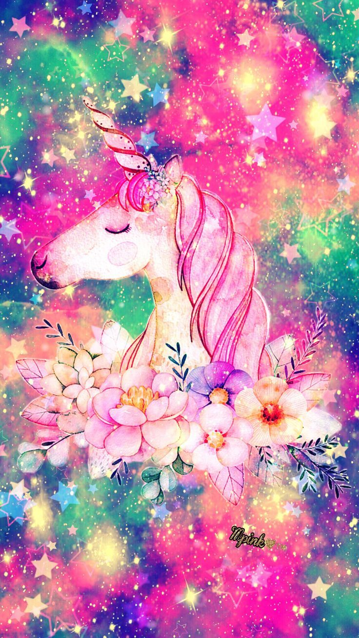 Floral Unicorn Galaxy Wallpaper Androidwallpaper Iphonewallpaper Wallpaper Galaxy Sparkle Backgroundunicorn Walpap Galaxy Wallpaper Tekboynuz Cizimler