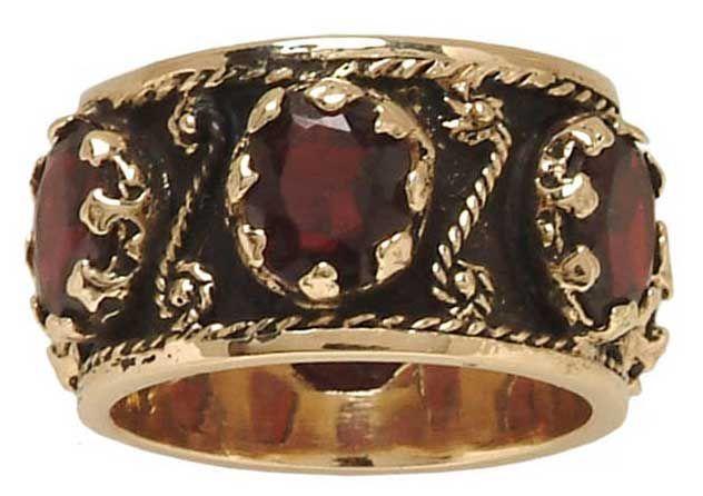 Antique Style Garnet Wedding Bands- 14k Yellow Gold Antique Reproduction Garnet Wedding Ring