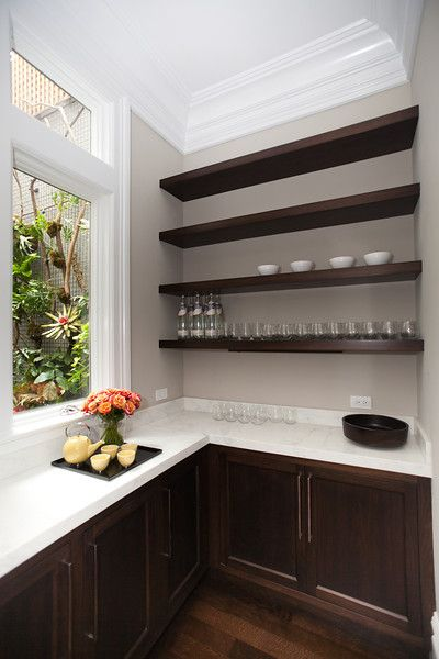 Marsh and Clark - kitchens - warm gray walls, butler pantry, butlers pantry, butler pantry design, butlers pantry design, chocolate brown ca...