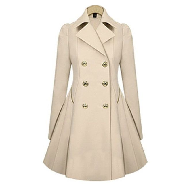 Commuter Trench Double-Breasted Slim Bodycon Wool Jacket Coat