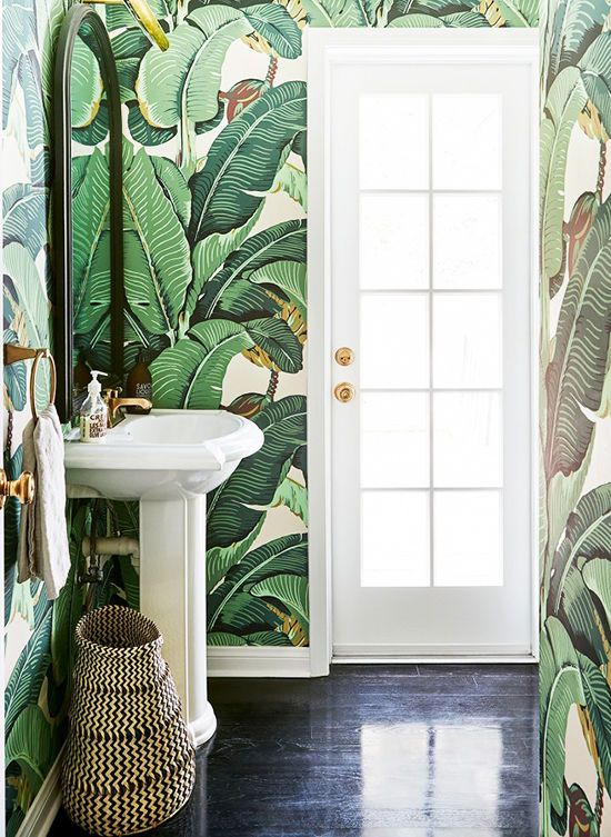 bathroom wallpaper botanical 25 Ways To Decorate With Botanical Prints