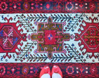 Vintage roze Perzisch tapijt loper Karadja Runner tapijt