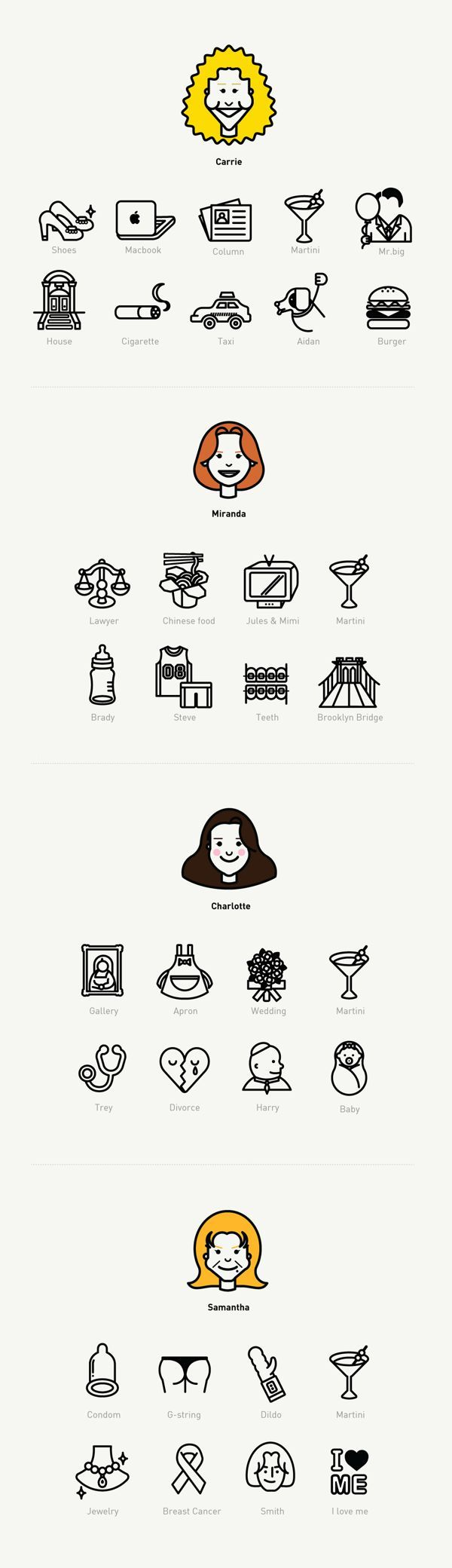 SexAndTheCity Icon set by Naomi Kim, via Behance. If you like UX, design, or design thinking, check out theuxblog.com
