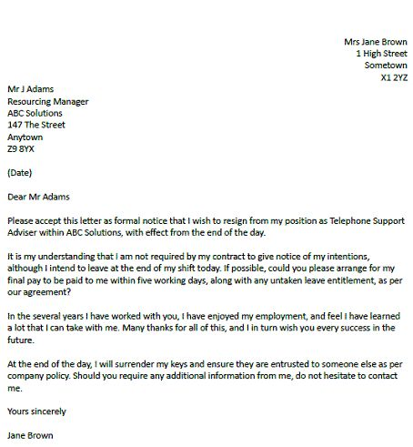 Sample Resignation Letter Without Notice Office Cleaning