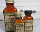 3 Antique Medicine Bottles, Eli Libby & Co., Brown Bottles with Labels, Pharmacy Bottles