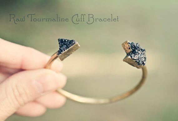 Raw Stone Cuff Bracelet / Black Tourmaline Stones by AnaberJewelry