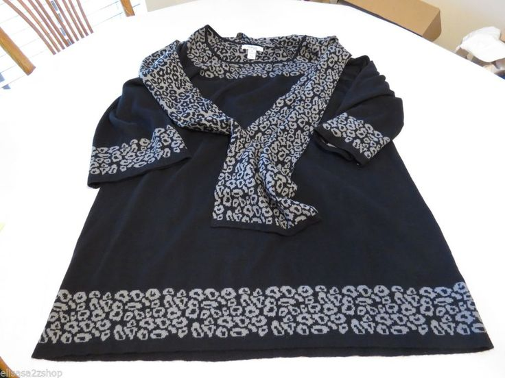 Style & and CO company black 1X sweater with built in scarf Women's plus EUC #Styleco #sweater
