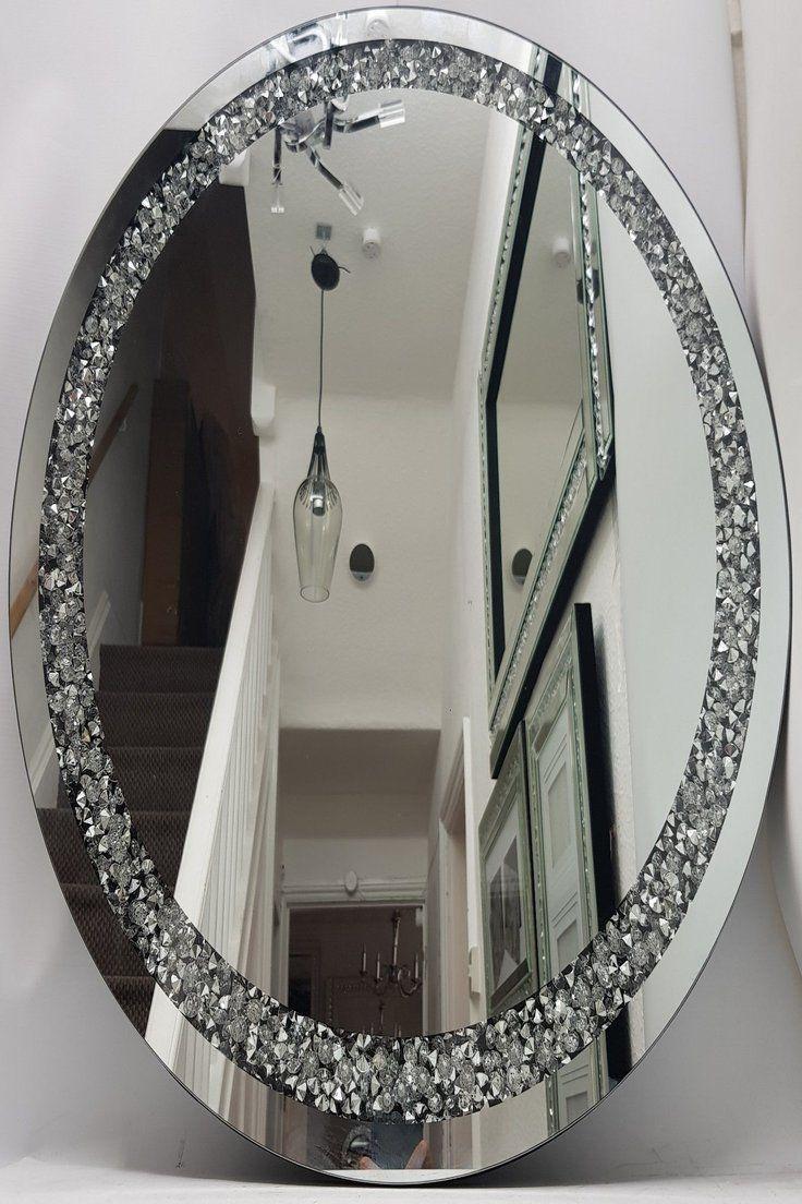 Diamond Crush Diamante Crystal Large Silver Sparkly Round Wall Mirror 70cm Ebay Mirror Wall Mirror Design Wall Mirrored Furniture Decor
