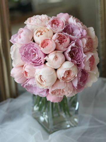 アプリコットピンク〜薄いパープルのイングリッシュローズをぎゅっと束ねた贅沢なブーケ。 wedding,round bouquet,pink,purple,apricot,English rose,sweet,