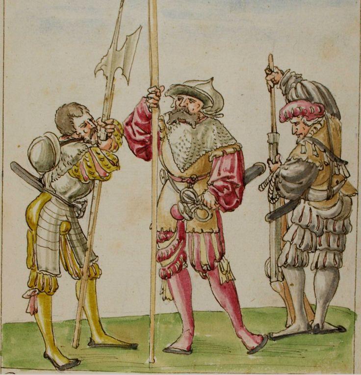 Drei Kriegsknechte mit Hellebarde, Speer und Gewehr als Sinnbild für verschiedenartige Rüstung und unterschiedliche Aufgaben im (Lebens-) Kampf.