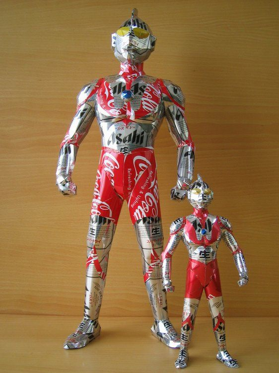 Ultraman recycled can art by Macaon