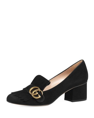 """Gucci suede loafer. 2.3"""" covered chunky heel. Strap over fringe vamp; logo buckle. Slip-on style. Smooth outsole. """"Marmont"""" is made in Italy."""