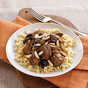 Lamb Tagine | MyRecipes.com ~ The intriguing combination of lamb, saffron, sweet spices, and dried plums makes this slow-cooker meal suitable for supper club and easy entertaining.