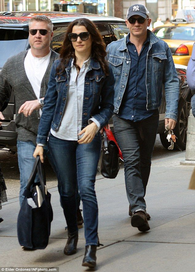 Double denim: Daniel Craig and wife Rachel Weisz step out for lunch in New York on Friday sporting matching outfits in similar jackets