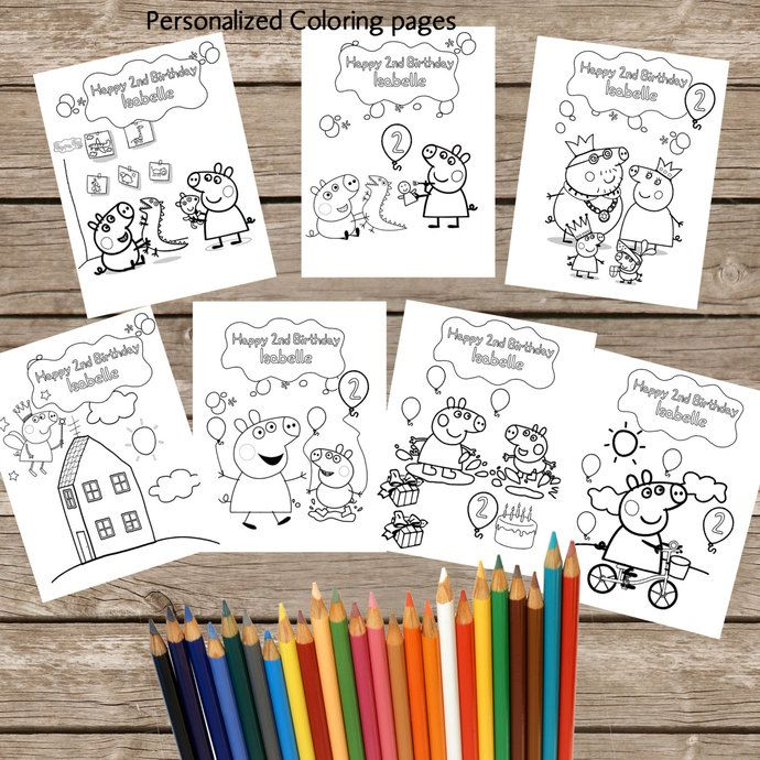 7 Personalized Peppa Pig Coloring pages - Digital- Printable- Children Birthday Souvenirs -Peppa Pig Birthday Coloring Pages by okprintables, €5.00 EUR