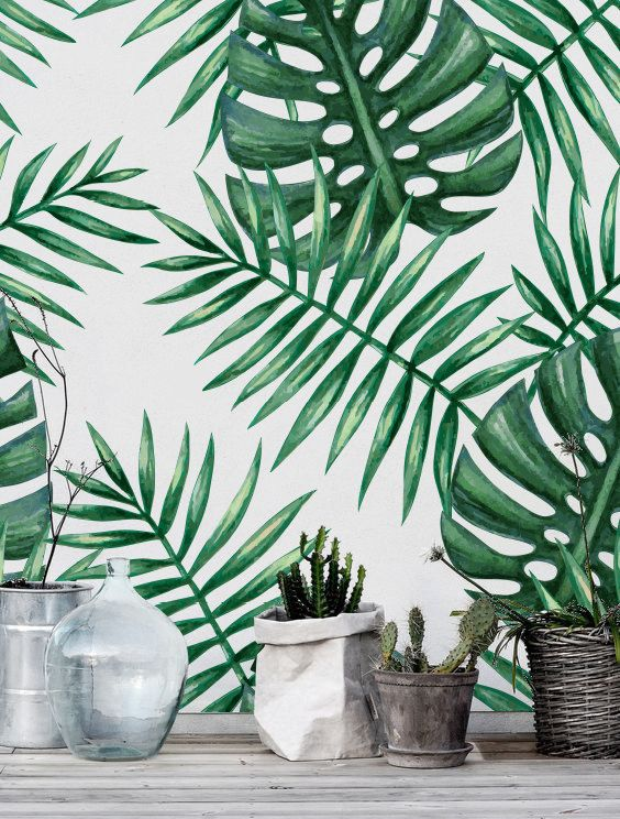 Green watercolor monstera & palm leaf removable wallpaper by Boho Walls on Etsy