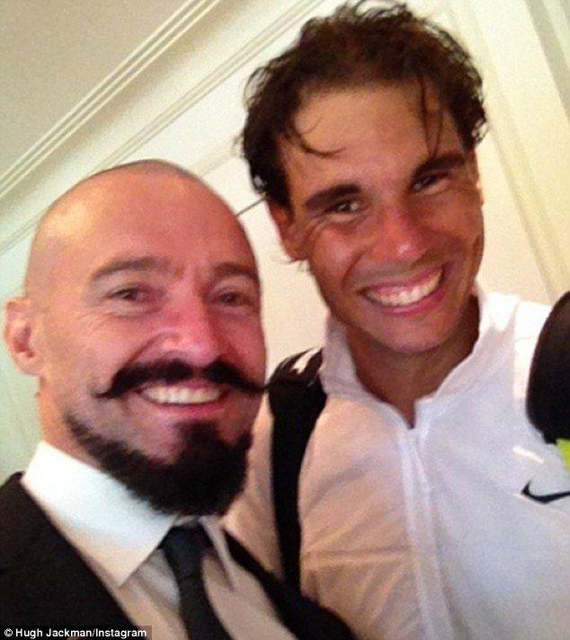 Hugh Jackman selfie with Rafael Nadal, Wimbledon 2014.
