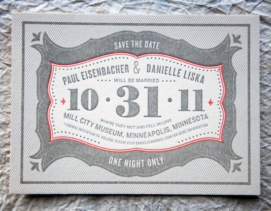 Wit Delight Gray Red Halloween Letterpress Wedding Save the Date 550x427 Danielle + Pauls Vintage Inspired Marquee Halloween Wedding Invitations