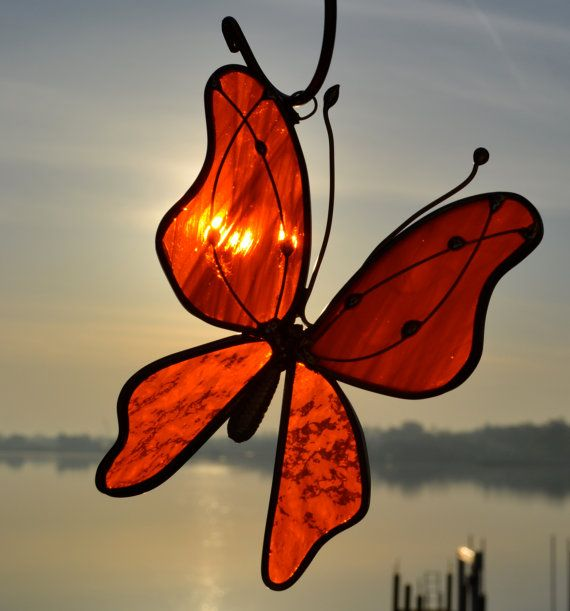 Bright Orange Butterfly Stained Glass Suncatcher by dortdesigns